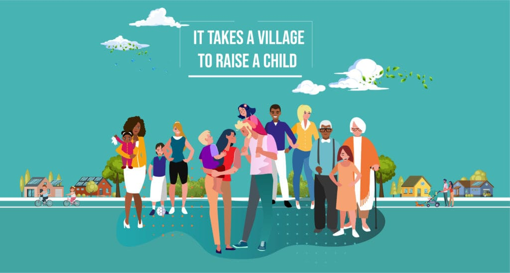 """Ordsprog om, at """"It takes a village to raise a child"""""""