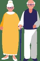 Grafisk element. Ældre ægtepar